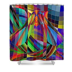 Geometric Alien Fly Shower Curtain