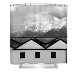 Geometric Architecture In Black And White Shower Curtain by Brooke T Ryan