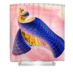 Geometric Shell Art Shower Curtain by Deborah Benoit