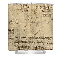 Geometrical Study About Transformation From Rectilinear To Curved Surfaces And Vice Versa From Atlan Shower Curtain by Leonardo Da Vinci