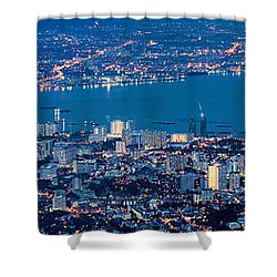 George Town Penang Malaysia Aerial View At Blue Hour Shower Curtain by Jit Lim