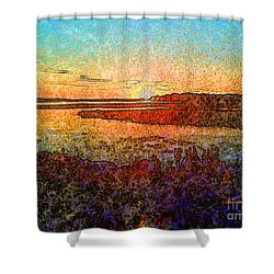 Georgian Bay Sunset Shower Curtain by Claire Bull