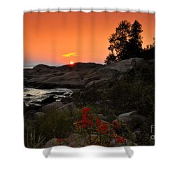 Georgian Bay Sunset Shower Curtain by Les Palenik