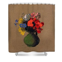 Geraniums And Flowers Of The Field Shower Curtain by Odilon Redon