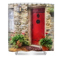 Geraniums By Red Door Shower Curtain by Susan Savad