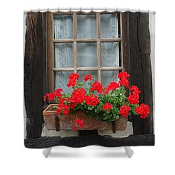Geraniums In Timber Window Shower Curtain