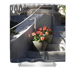 Geraniums Look Better In Beaufort Shower Curtain by Patricia Greer