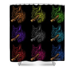 German Shepherd And Toy Mosaic Pop Art - 0745 F Bb Shower Curtain by James Ahn