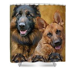 German Shepherd Family Collage Shower Curtain by Sandy Keeton