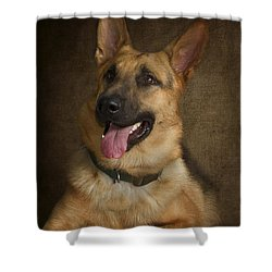 German Shepherd Portrait Shower Curtain