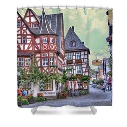 German Village Along Rhine River Shower Curtain