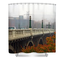 Gervais Street Bridge In The Fog Shower Curtain