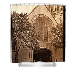 Get Me To The Church Shower Curtain by Donna Blackhall