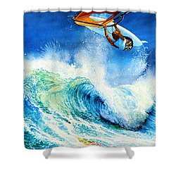 Shower Curtain featuring the painting Getting Air by Hanne Lore Koehler