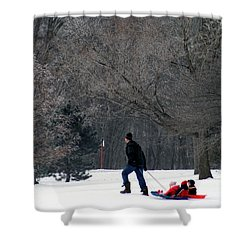 Shower Curtain featuring the photograph Getty-up Daddy by Kay Novy