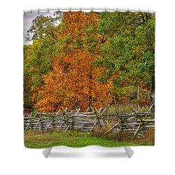 Gettysburg At Rest - Autumn Colors Along Oak Hill Near The Eternal Peace Light Memorial Mid-morning Shower Curtain