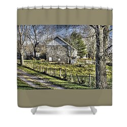 Shower Curtain featuring the photograph Gettysburg At Rest - Sarah Patterson Farm Field Hospital Muted by Michael Mazaika
