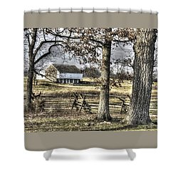 Shower Curtain featuring the photograph Gettysburg At Rest - Winter Muted Edward Mc Pherson Farm by Michael Mazaika