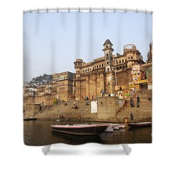 Ghats And Boats On The River Ganges At Varanasi In India Shower Curtain by Robert Preston