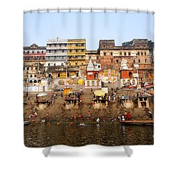 Ghats In The River Ganges At Varanasi In India Shower Curtain by Robert Preston