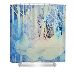 Shower Curtain featuring the painting Ghost Forest by Teresa Ascone
