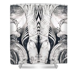 Shower Curtain featuring the painting Ghost In The Machine - Detail Mirrored by Otto Rapp