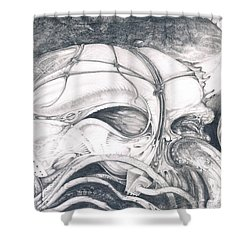 Shower Curtain featuring the drawing Ghost In The Machine by Otto Rapp