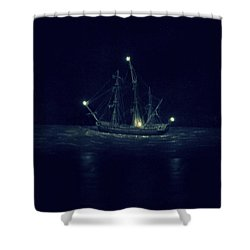 Ghost Ship Shower Curtain by Laurie Perry