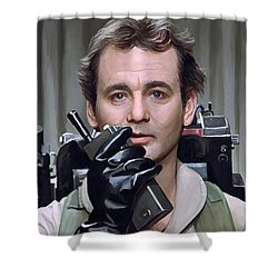 Shower Curtain featuring the painting Ghostbusters - Bill Murray Artwork 1 by Sheraz A