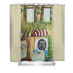 Shower Curtain featuring the painting Gianni's Bistro by Eloise Schneider