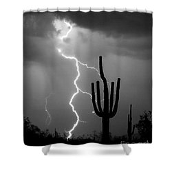 Giant Saguaro Cactus Lightning Strike Bw Shower Curtain