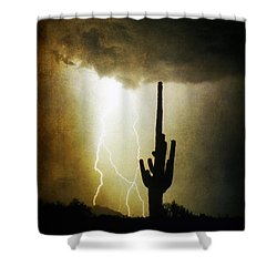Giant Saguaro Lightning Spiral Fine Art Photography Print Shower Curtain by James BO  Insogna