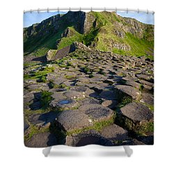Giant's Causeway Green Peak Shower Curtain by Inge Johnsson