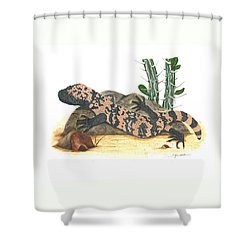 Gila Monster Shower Curtain by Cindy Hitchcock