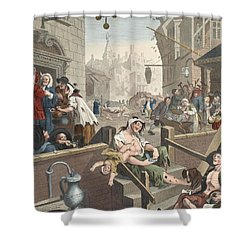 Gin Lane, Illustration From Hogarth Shower Curtain by William Hogarth