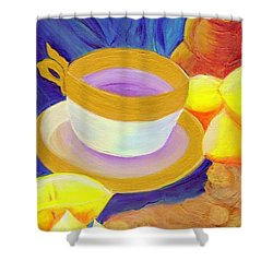 Ginger Lemon Tea By Jrr Shower Curtain by First Star Art