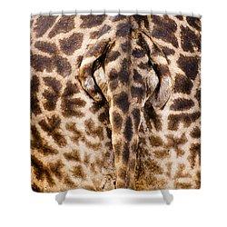 Giraffe Butt Shower Curtain by Adam Romanowicz