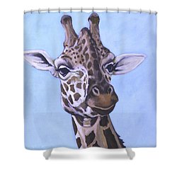 Giraffe Eye To Eye Shower Curtain