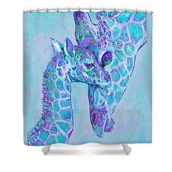 Giraffe Shades  Purple And Aqua Shower Curtain by Jane Schnetlage