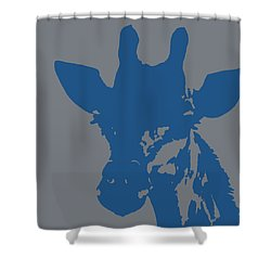 Giraffe Silhouette Grey Blue Shower Curtain by Ramona Johnston