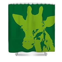 Giraffe Silhouette Lime Green Shower Curtain by Ramona Johnston