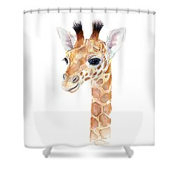 Giraffe Watercolor Shower Curtain by Olga Shvartsur