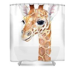 Giraffe Watercolor Shower Curtain