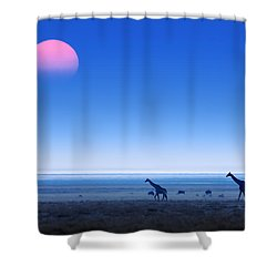 Giraffes On Salt Pans Of Etosha Shower Curtain by Johan Swanepoel