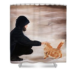 Girl And A Cat Shower Curtain by Anastasiya Malakhova