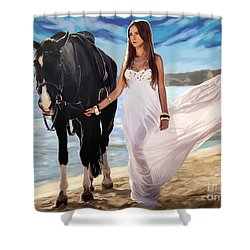 Shower Curtain featuring the painting Girl And Horse On Beach by Tim Gilliland