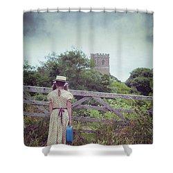 Girl At Gate Shower Curtain by Joana Kruse