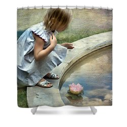 Girl At The Pond Shower Curtain