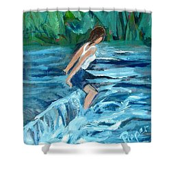 Girl Bathing In River Rapids Shower Curtain by Betty Pieper