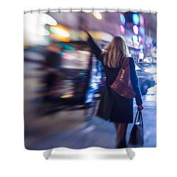 Girl Catching A Taxi In Manhattan Shower Curtain
